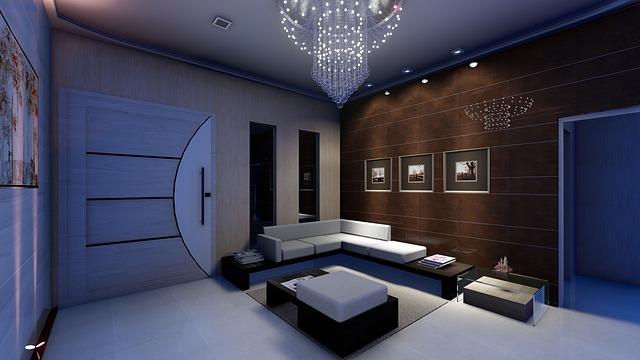 moderní interiér, gauč, velké dveře
